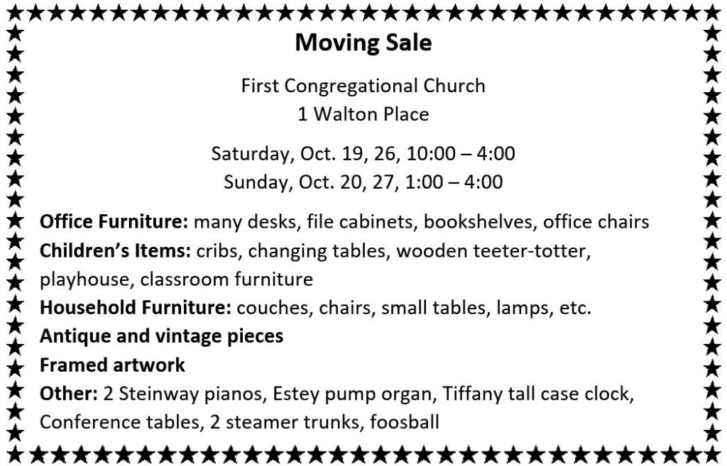 Moving Sale @ First Congregational Church | Stamford | Connecticut | United States